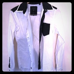 Black and white Men's button down shirt by GUESS